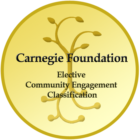 "yellow circle that says ""carnegie foundation - elective community engagement classification"""